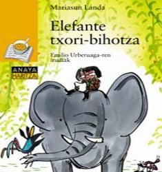 liburuaren azala: emakume betaurrekodun txikia elefante baten gainean